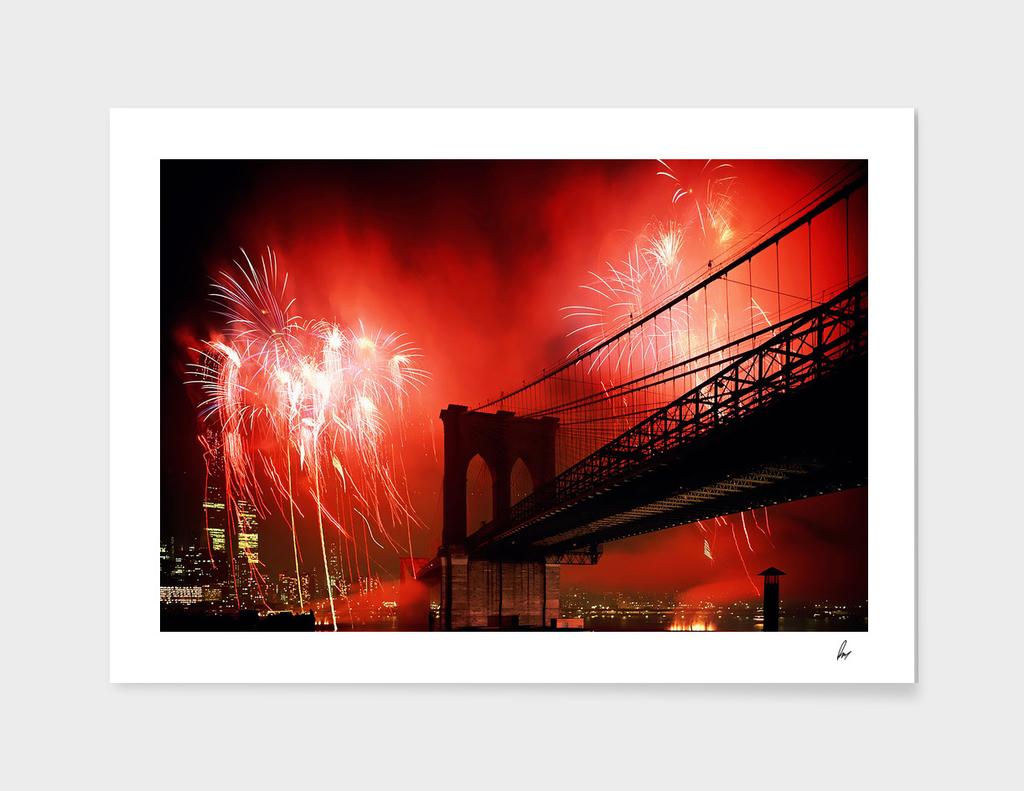 Brooklyn Bridge Fireworks NYC