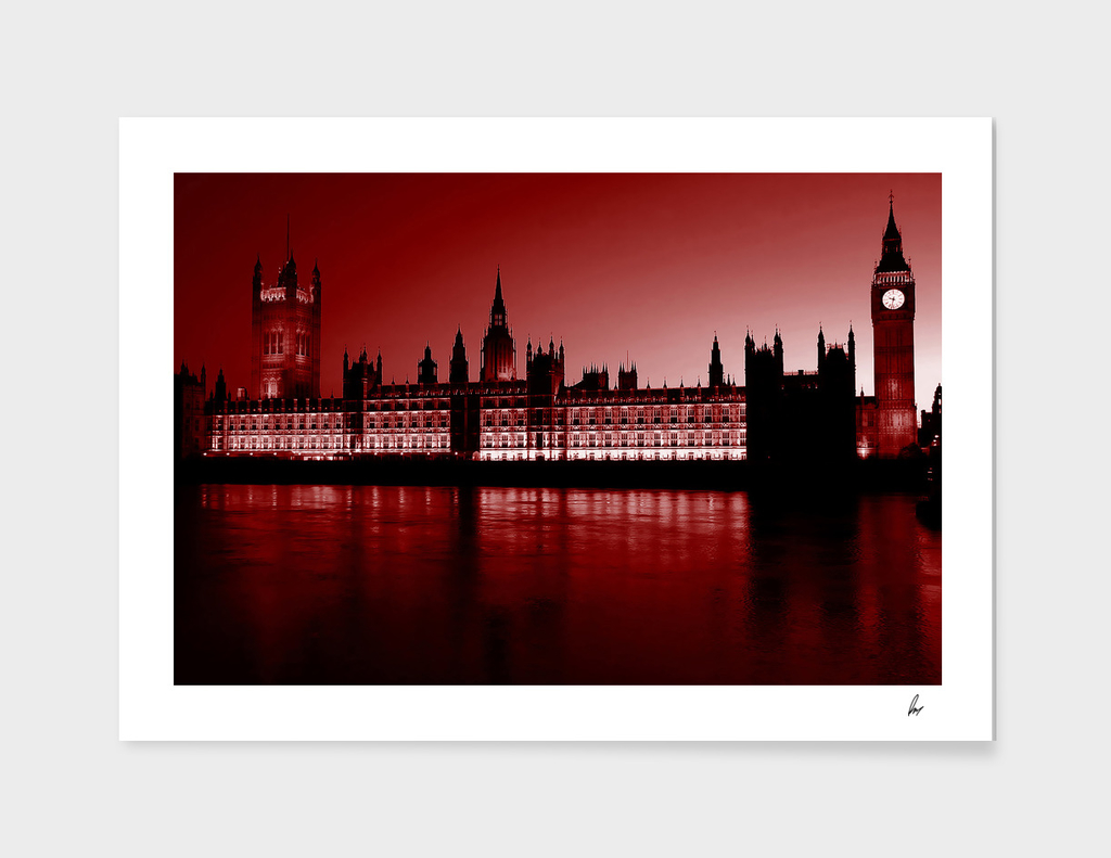 London Houses Of Parliament Deep Red