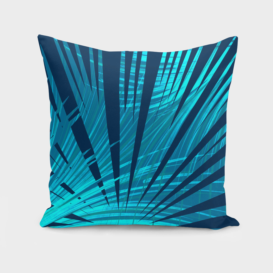 Tropical Blue Fan Palm Leaves Abstract Design