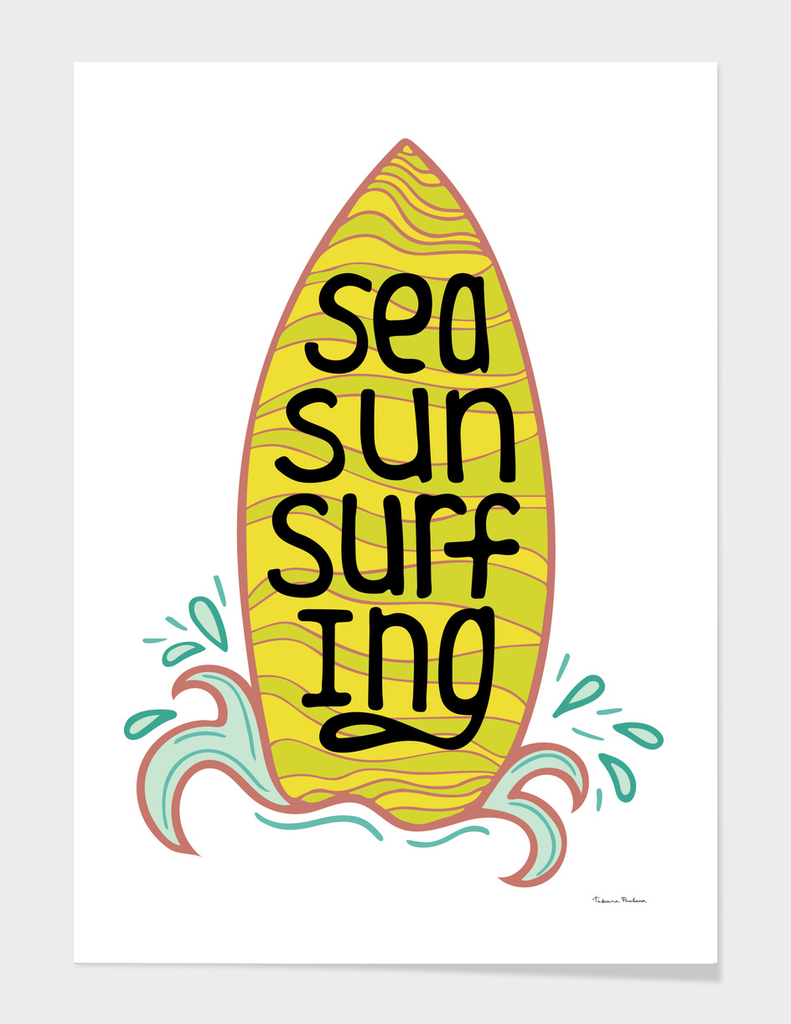 Unique illustration with a hand-drawn lettering for surfing.