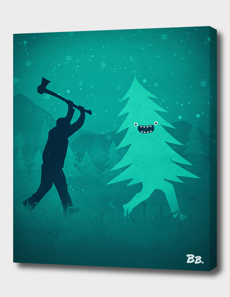 Funny Cartoon Christmas tree is chased by Lumberjack!