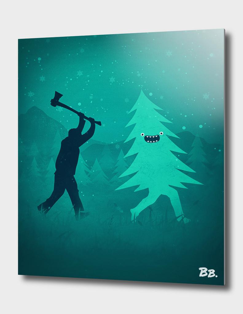 Funny Cartoon Christmas tree is chased by Lumberjack!