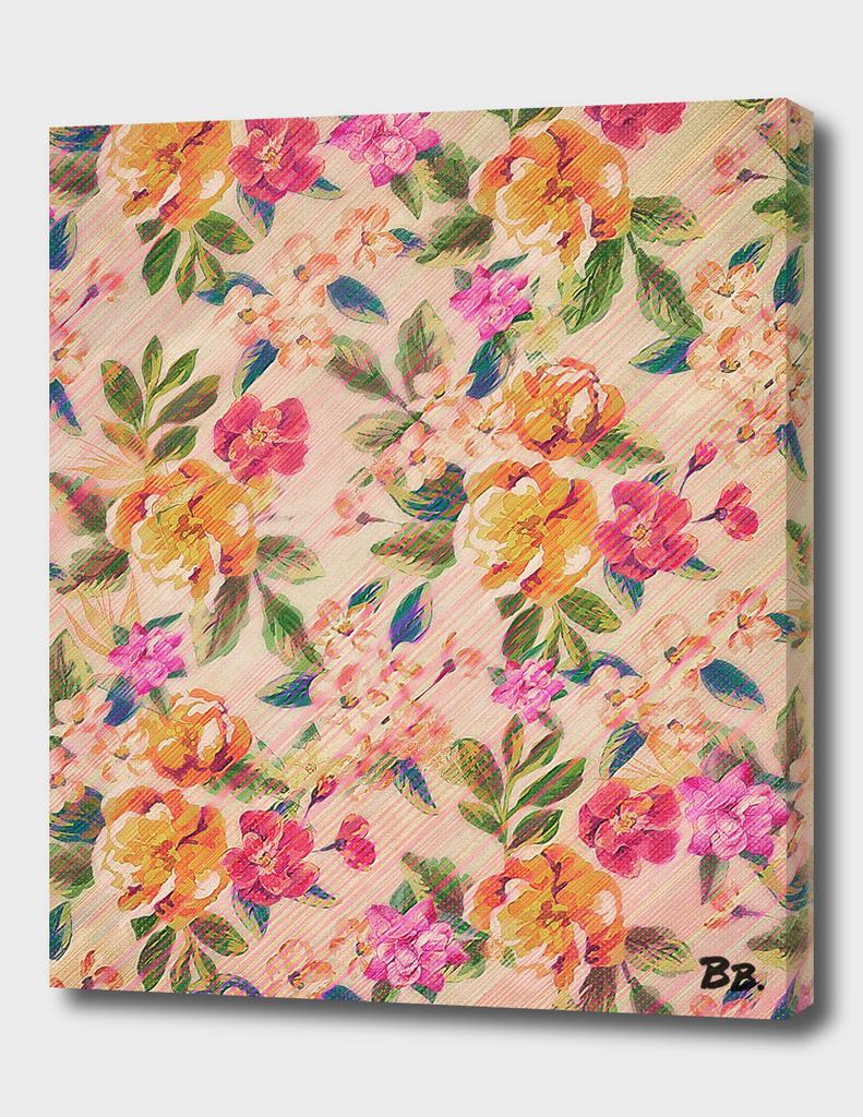 Golden Flitch/ Digital Vintage Retro Glitched Pastel Flowers