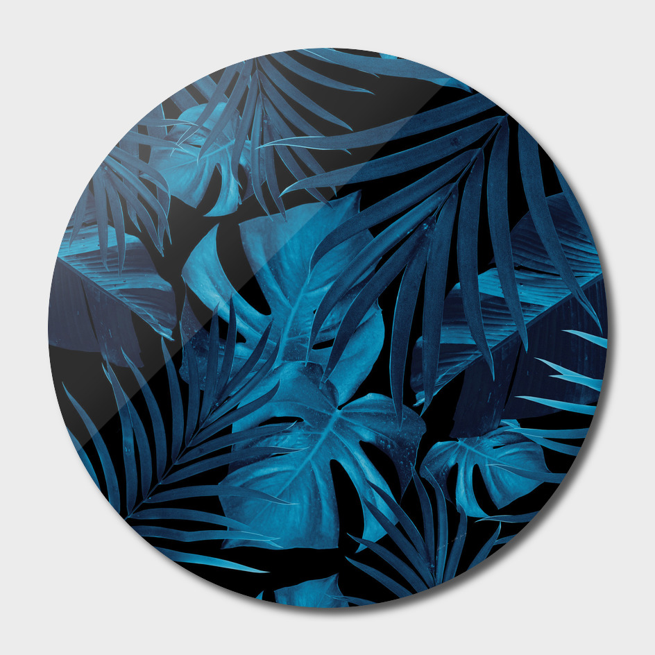 Tropical Jungle Night Leaves Pattern #2