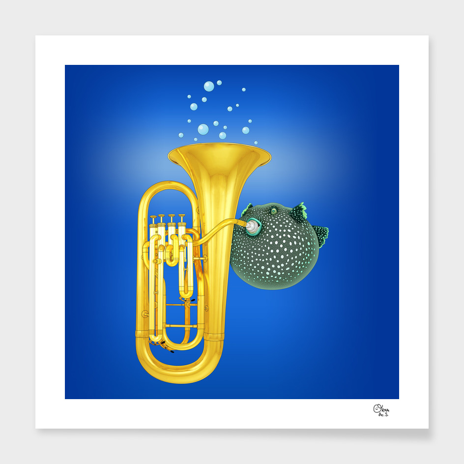 Puffer Fish Playing Tuba