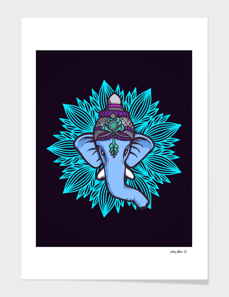 Blue Elephant - Ganesh Be Wise, Be Strong, Be Happy