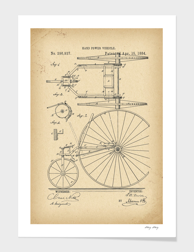 1884 Patent Velocipede Tricycle Bicycle history invention