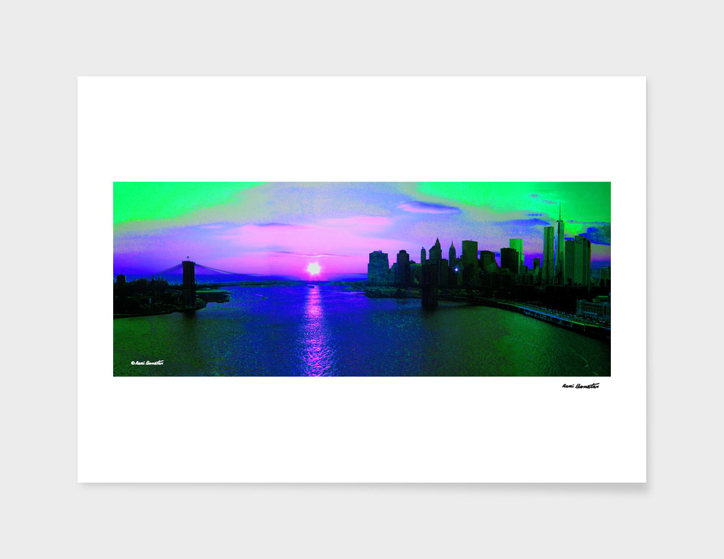 Brooklyn Bridge View New York City Digital Illustration