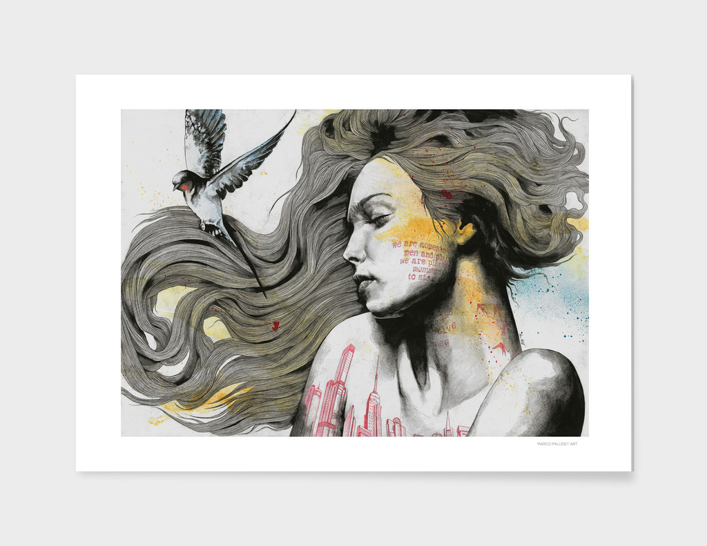 Monument (long hair girl with bird and skyline tattoo)