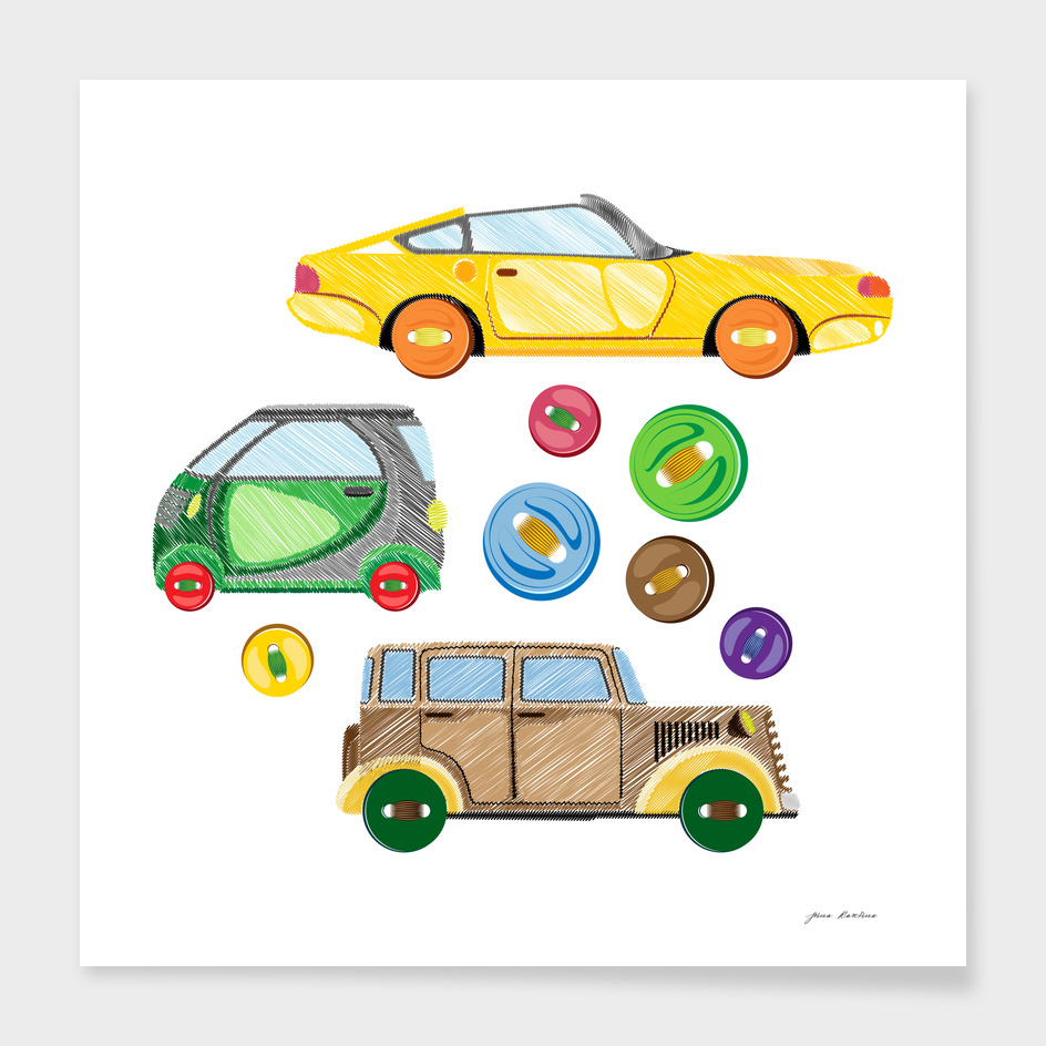 embroidered retro cars and sewn buttons