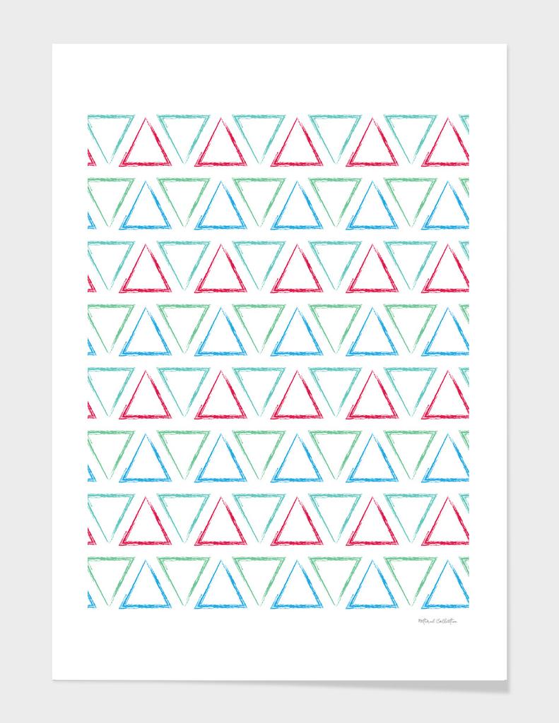 Triangular Peaks Pattern - Teal, Green, Red, & Blue #546