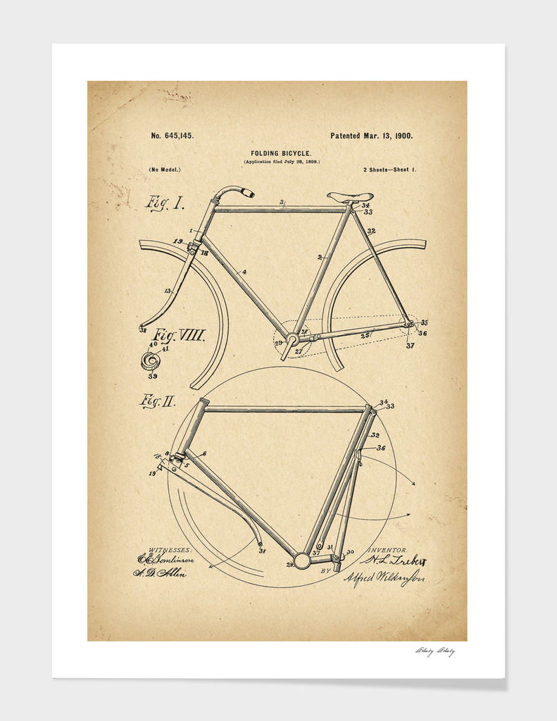 1900 Patent Velocipede folding Bicycle history invention