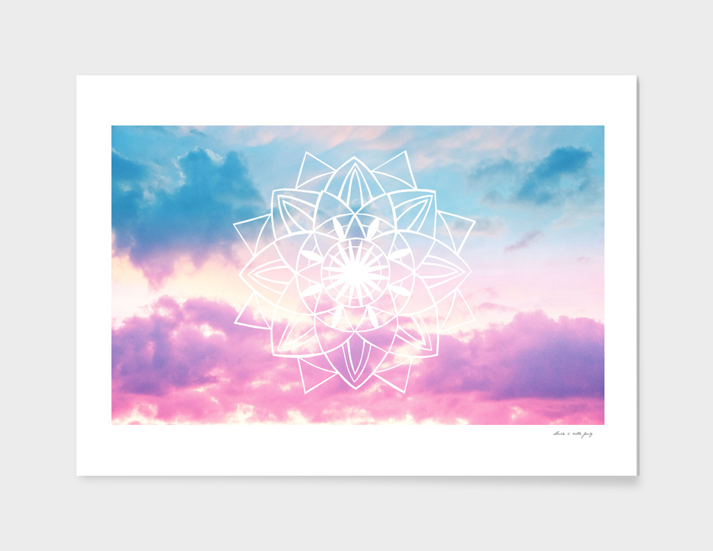 Star Mandala Unicorn Pastel Clouds #3 #decor #art