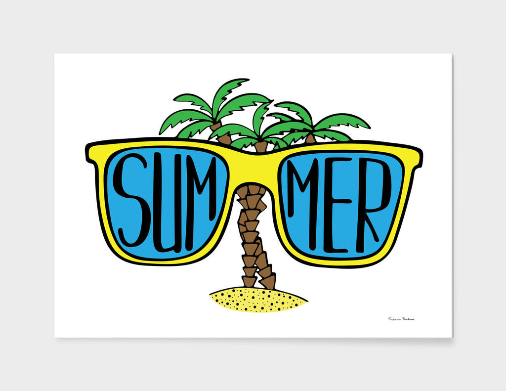 Hand-drawn illustration with sunglasses and palms