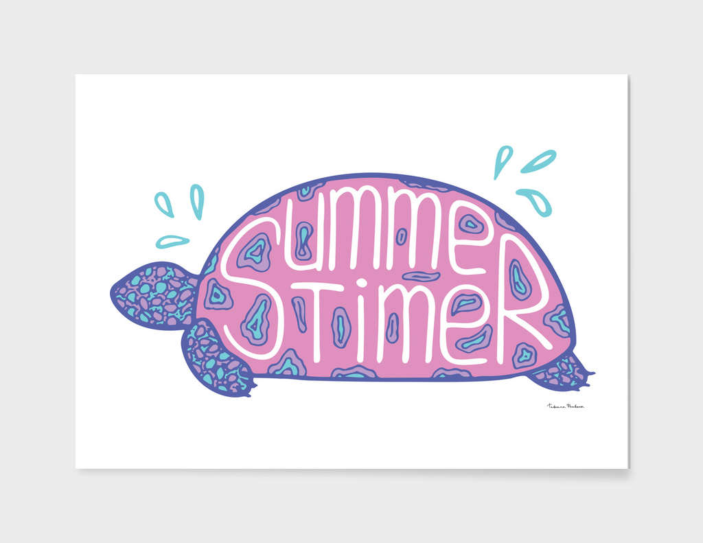 Illustration of a tortilla with a lettering. Summertime.