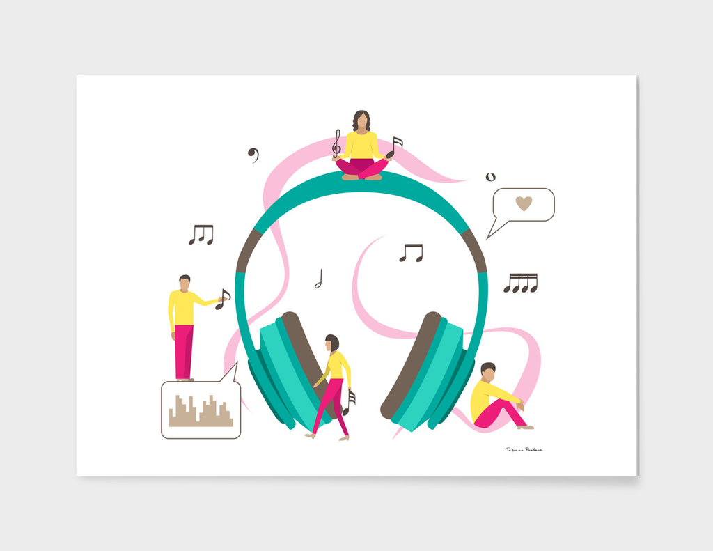 Vector illustration for musical industry with small men