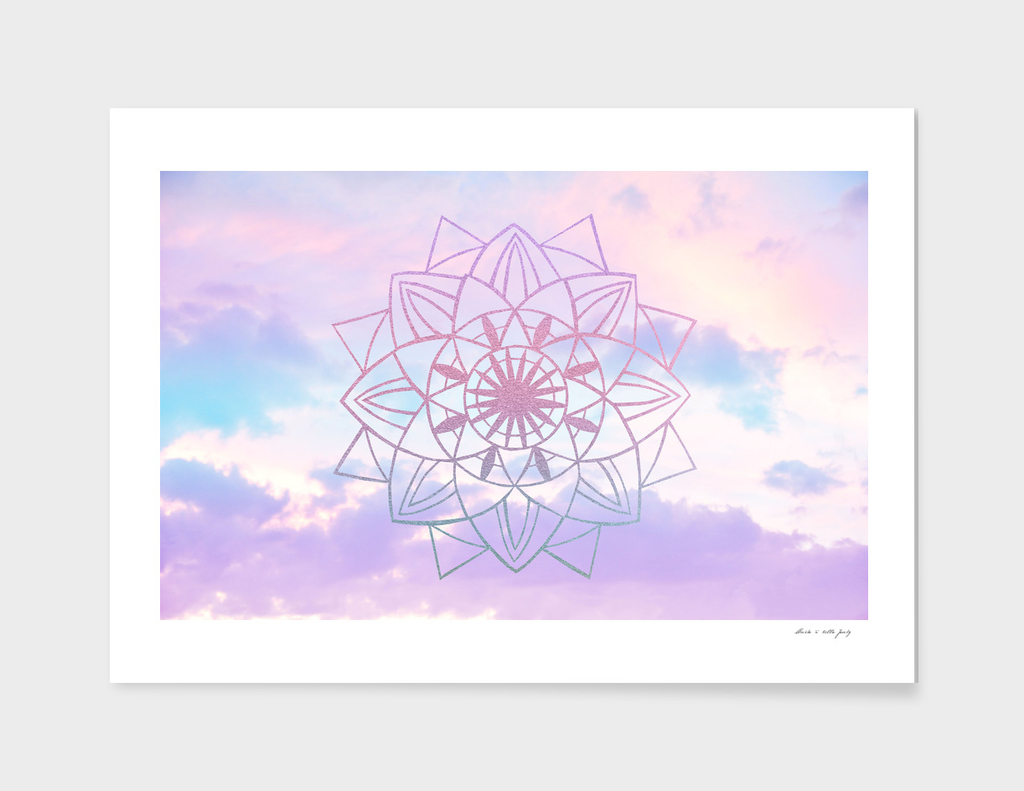 Star Mandala Unicorn Pastel Clouds #1 #decor #art