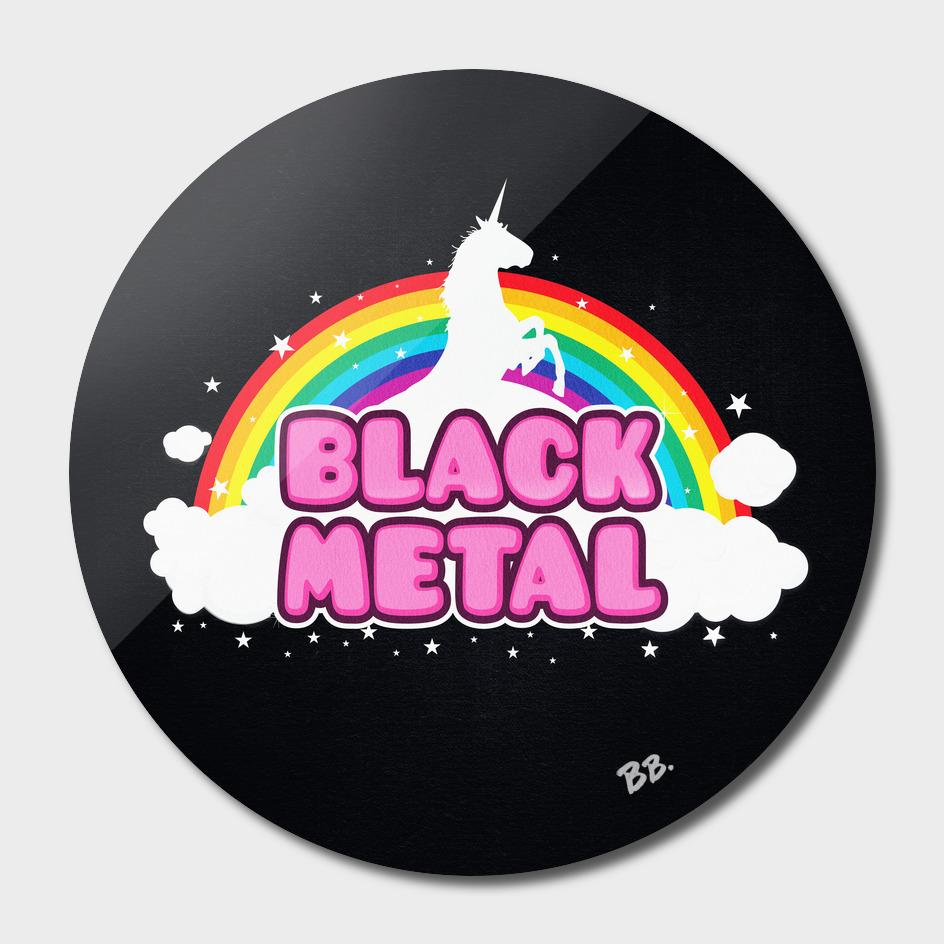 BLACK METAL! (Funny Unicorn / Rainbow Mosh Parody Design)