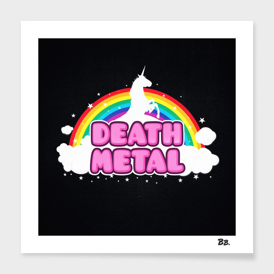 DEATH METAL! (Funny Unicorn / Rainbow Mosh Parody Design)