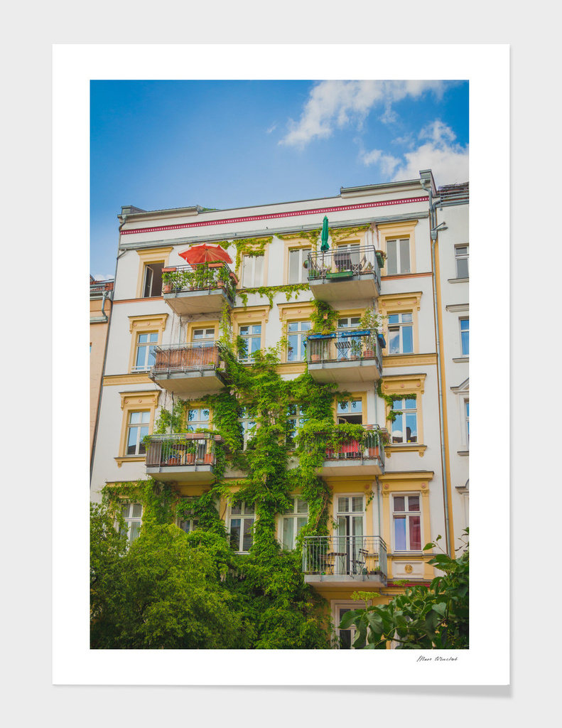 Apartment building covered with green Ivy plant