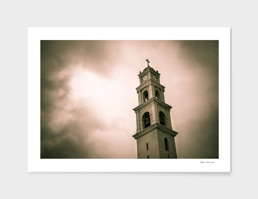 Scary church clock tower
