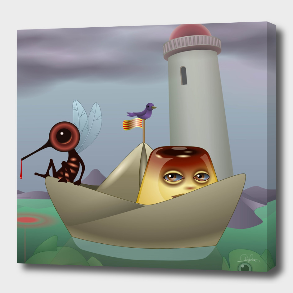 Boat with mosquito and flan