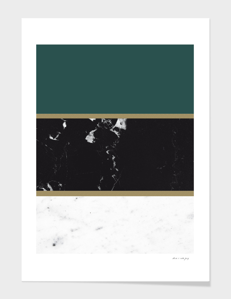 Marble Mix Stripes #4 #black #white #green #gold #decor #art