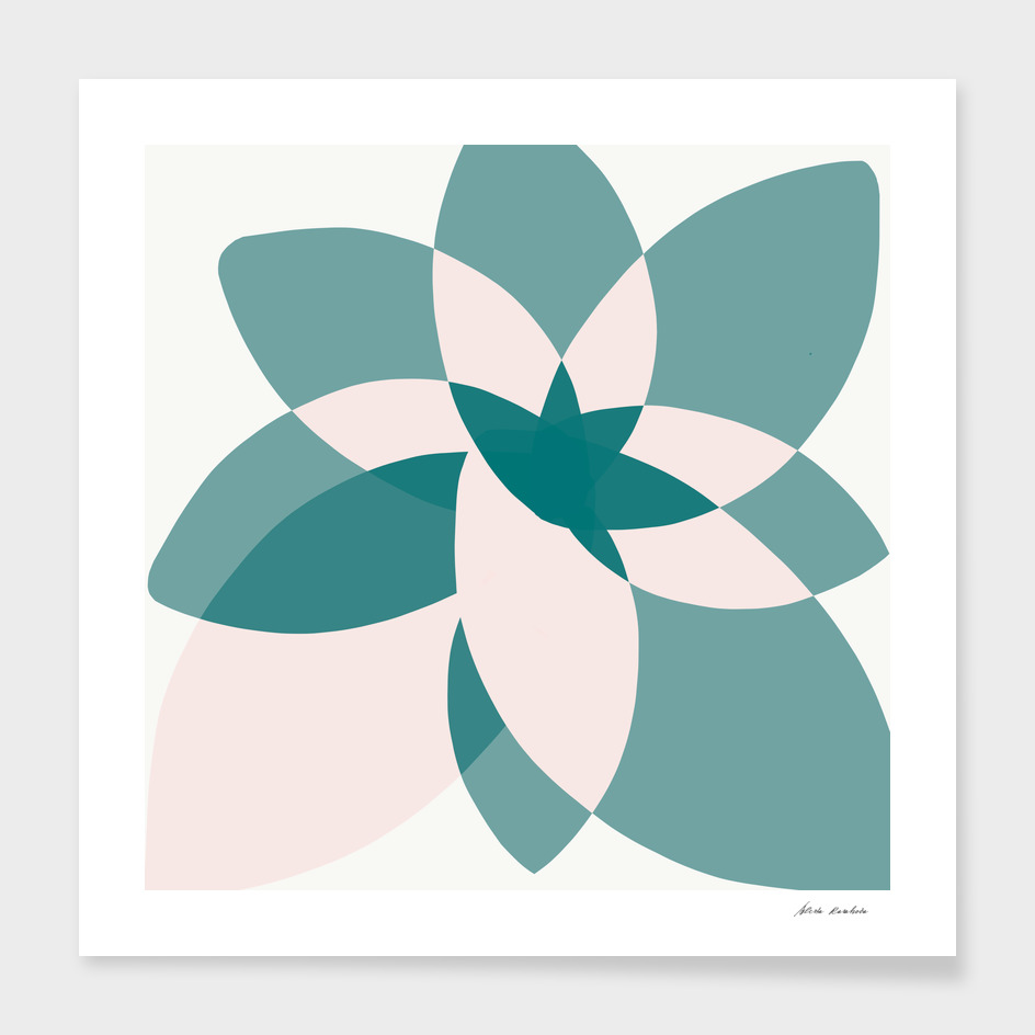 Abstract graphic bloom in teal and pale rose