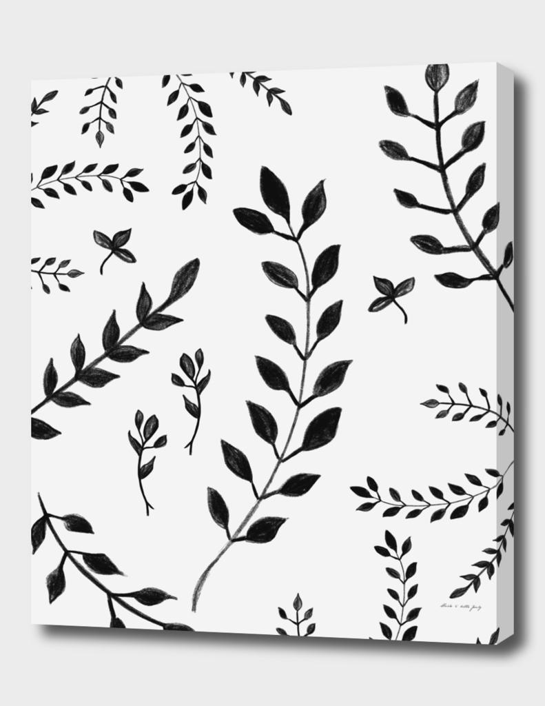 Black White Leaves Pattern 4 Drawing Decor Art Canvas Print By Anita S Bella S Art Curioos