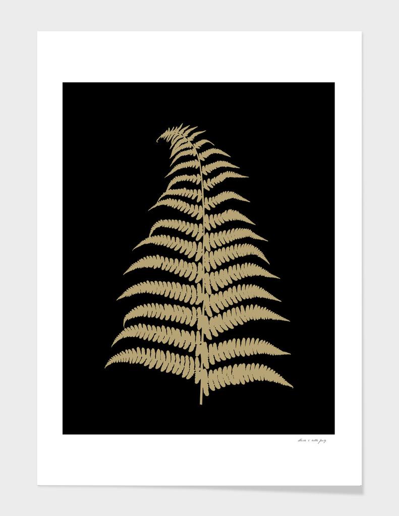 Fern Leaf Gold on Black #1 #ornamental #decor #art