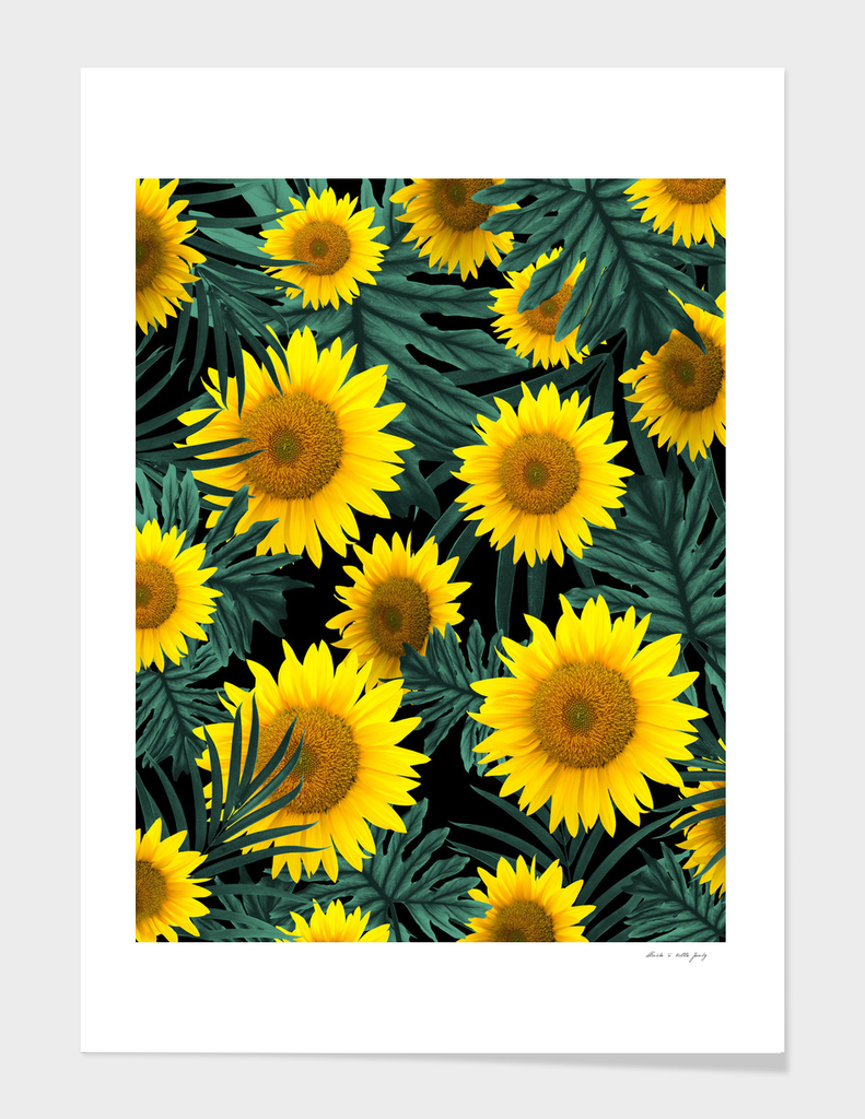 Tropical Sunflower Jungle Night Leaves Pattern #1 #tropical