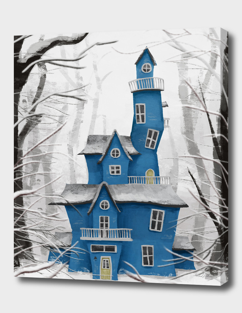Snowy Blue Mansion