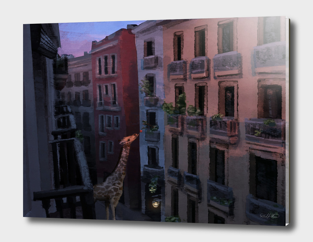 Sunset Giraffe in the City