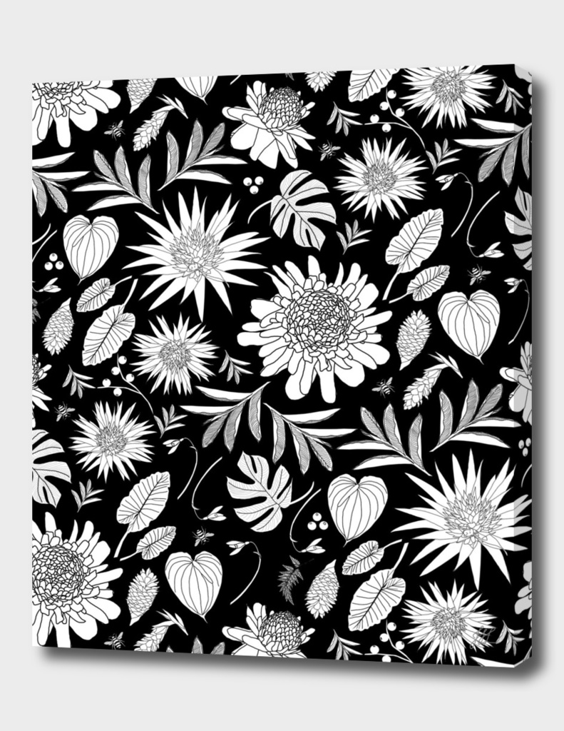TROPICAL FLOWERS BW