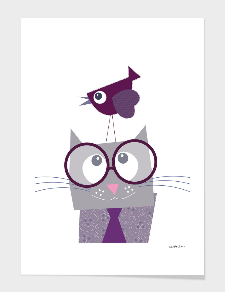 Cat and pretty bird