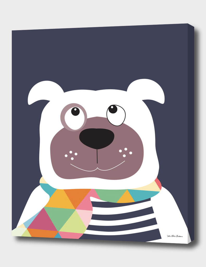 Dog with geometric scarf