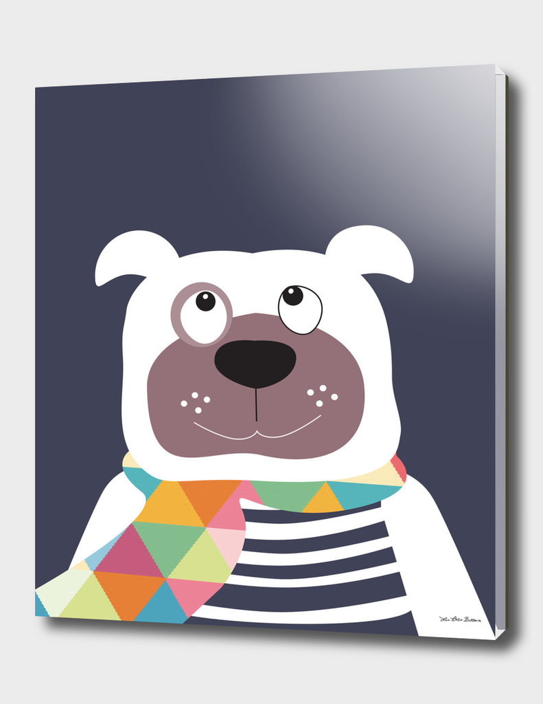 Dog with geometric scarf