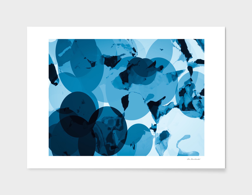 blue circle painting abstract background