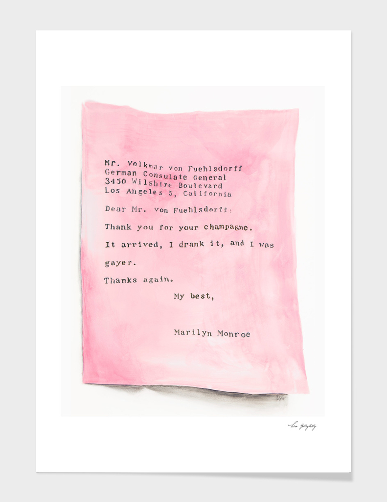 Pink Letter From Marilyn