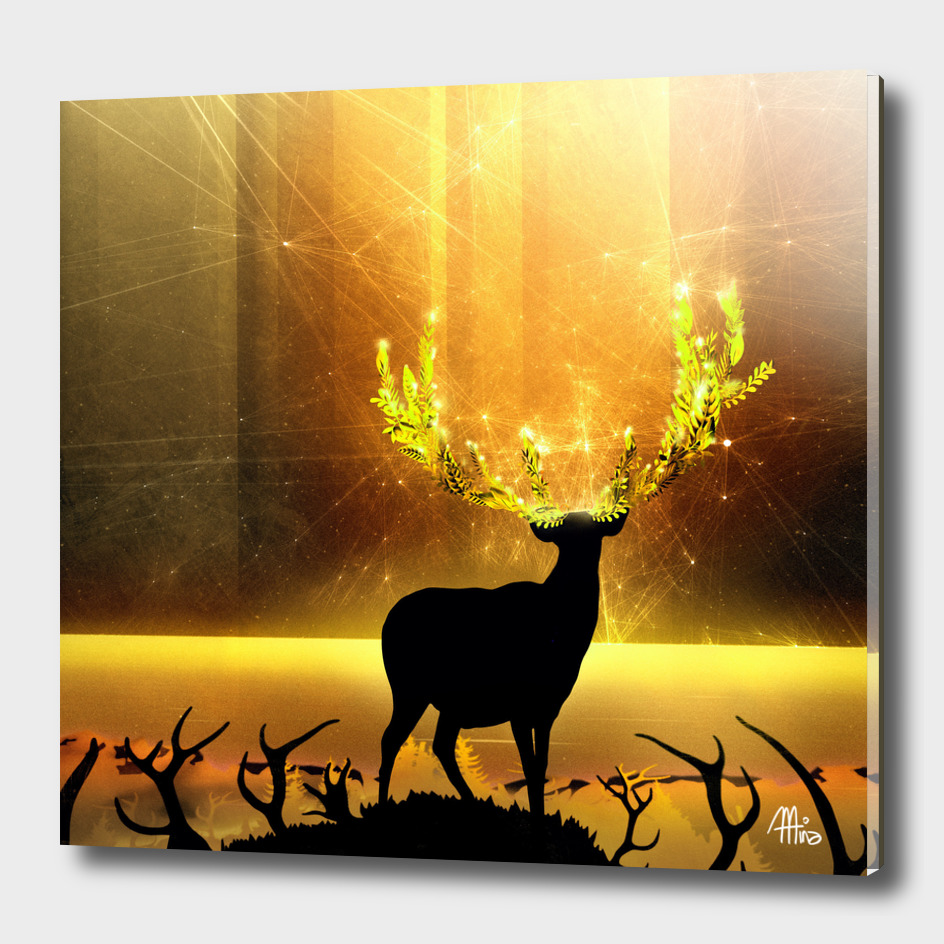 Greenery Deer - Golden Sun