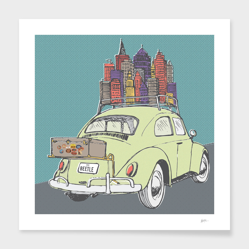 VW Beetle on a roadtrip