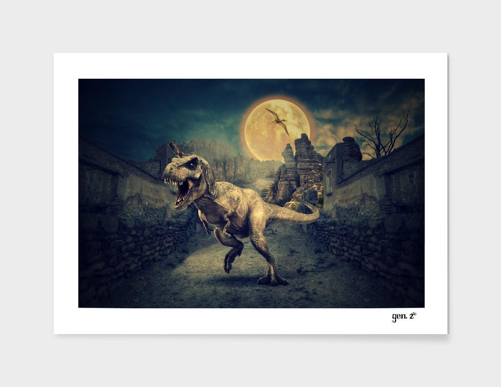 Dinosaurs in the ruins by GEN Z