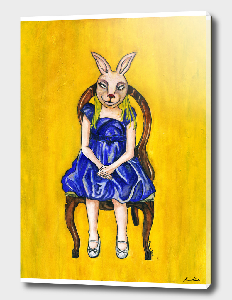 A Girl with a rabbit mask