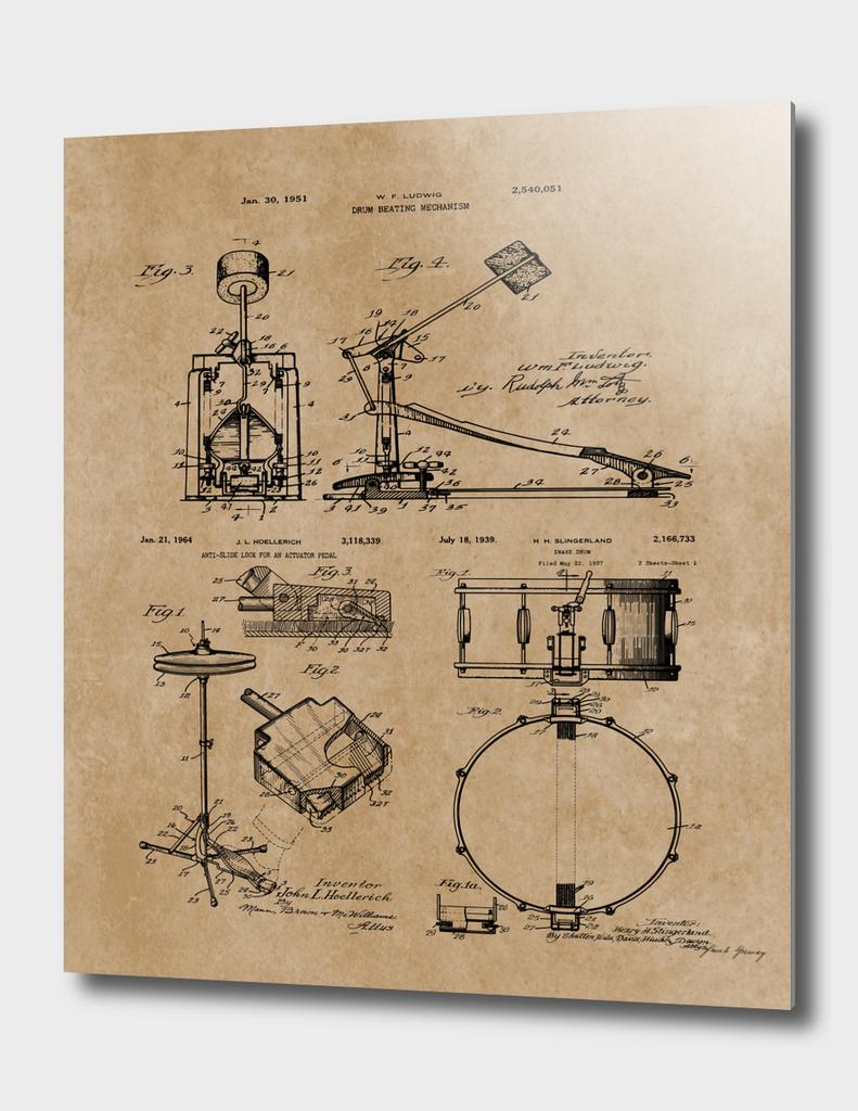 Drummer Gift Drum Set Vintage Patent Blueprints