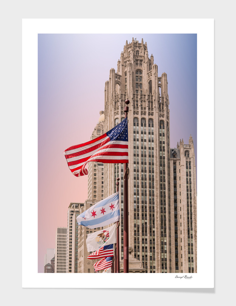 American Flags by Chicago Tower at Dusk
