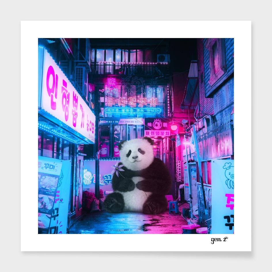 Giant panda in a Chinese street by GEN Z