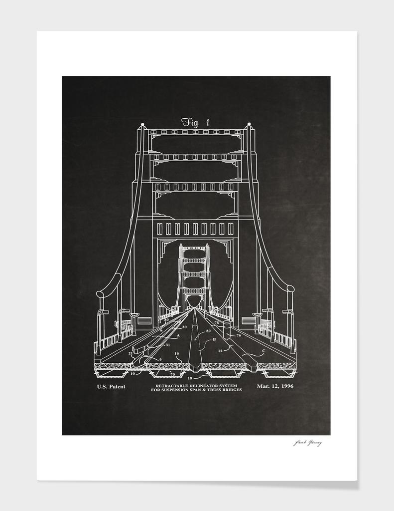 Suspension Bridge Patent Blueprint Art
