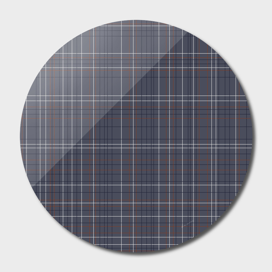 Navy and Rust Grid on Blue