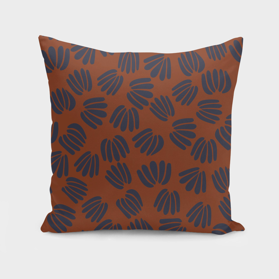 Navy and Rust abstract floral II