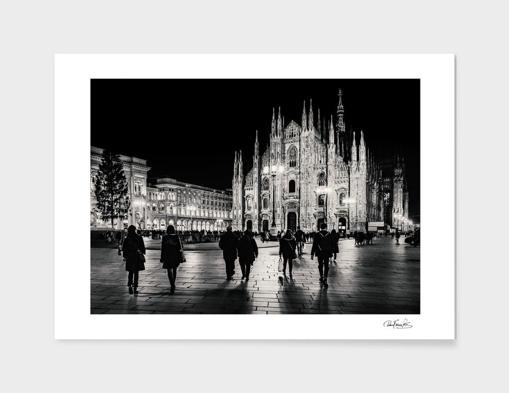 Black and White Duomo Piazza Night Scene, Milan City,